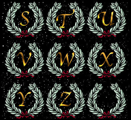 spangled: A  wreath with letters of the alphabet set on a star spangled background background