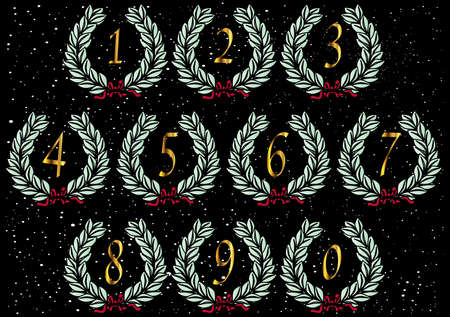 spangled: Wreaths with lnumbers set on a star spangled background background