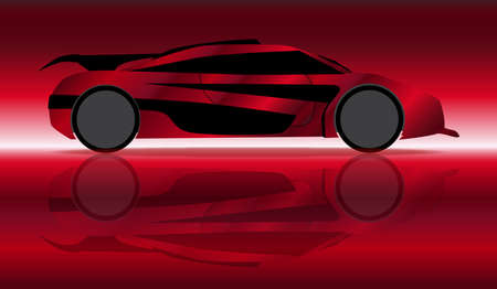 accelerating: A fast car in silhouette and reflection over red background