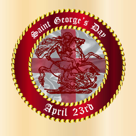 saint george: Saint Georges Day April 23rd icon button Illustration