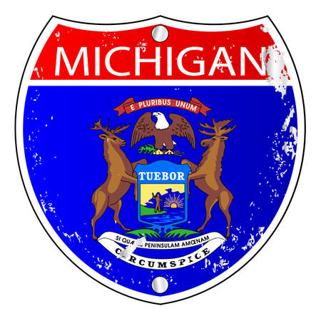 michigan flag: Michigan flag icons as an interstate sign over a white background