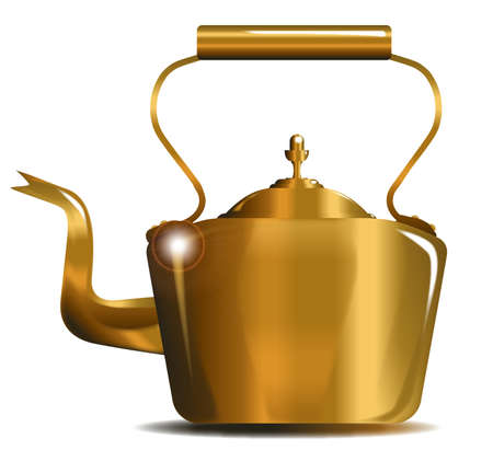 hob: Typical Victorian Style copper kettle isolated over a white background