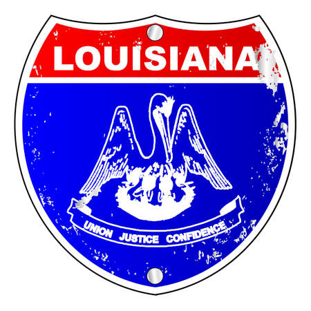 louisiana flag: Louisiana flag icons as an interstate sign over a white background