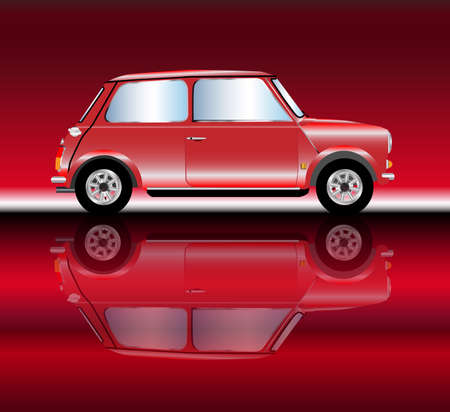 mini car: A typical generic mini car with reflections