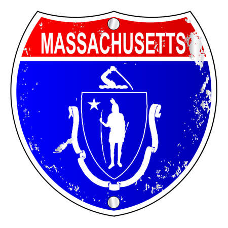 interstate: Massachusetts flag icons as an interstate sign over a white background Illustration