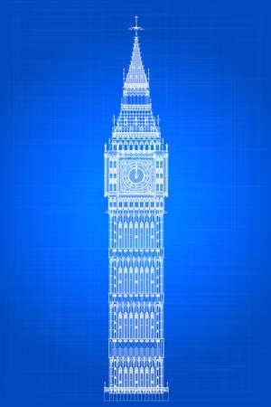 london landmark: The London landmark Big Ben Clocktower as a blueprint