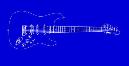 stratocaster: A modern solid body electric guitar in blueprint Illustration