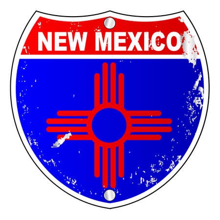 New Mexico flag icons as an interstate sign over a white background