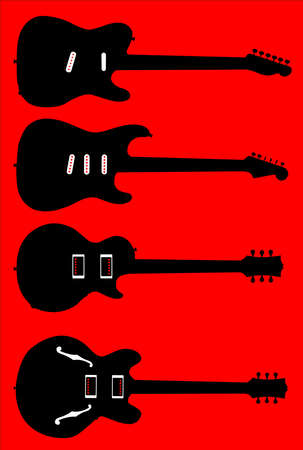 A collection of modern electric guitar shapes over red