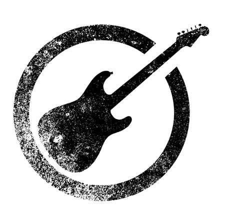 The standard rock and roll guitar as as rubber ink stamp in black, isolated over a white background.