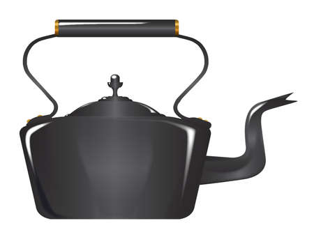 cast iron: Typical Victorian Style cast iron kettle isolated over a white background Illustration