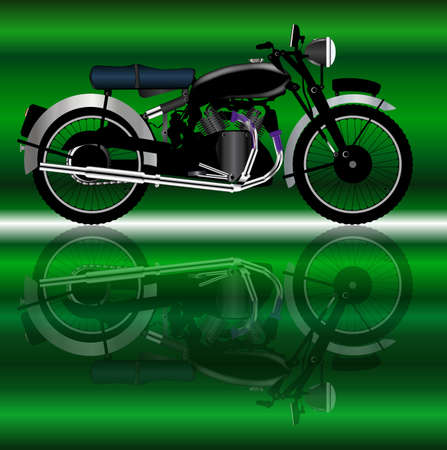 motor cycle: A classic style motor cycle with reflection
