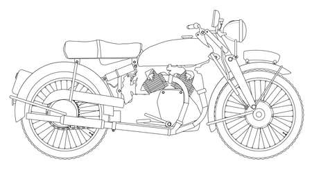 motor cycle: A classic style motor cycle outline over a white background Illustration