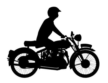 two stroke: A classic style motor cycle and rider over a white background
