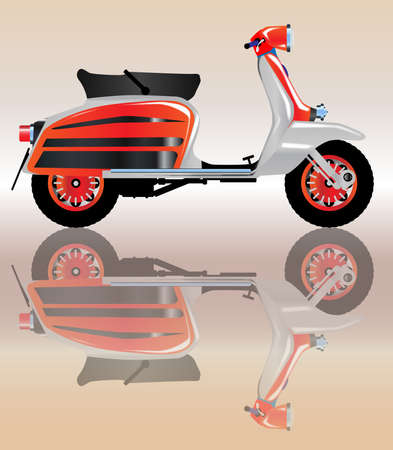 motor scooter: A typical 1960 style motor scooter with reflection over a pale background