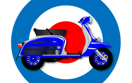 sixties: A typical 1960 style motor scooter over a UK symbol background