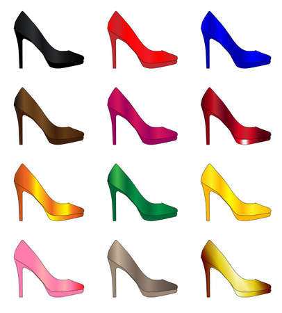 stiletto: A collection of a dozen coloured stiletto heel shoes Illustration