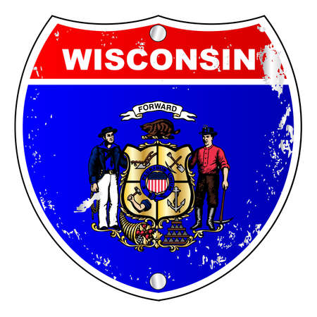 wisconsin flag: Wisconsin flag icons as an interstate sign over a white background