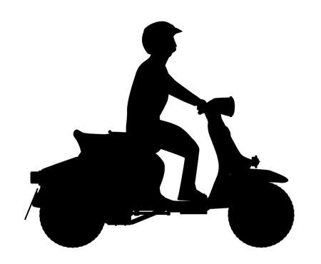 white person: A typical 1960 style motor scooter with silhouette rider over a white background
