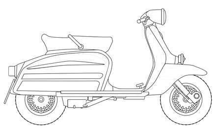 motor scooter: A typical 1960 style motor scooter in outline drawing over white Illustration