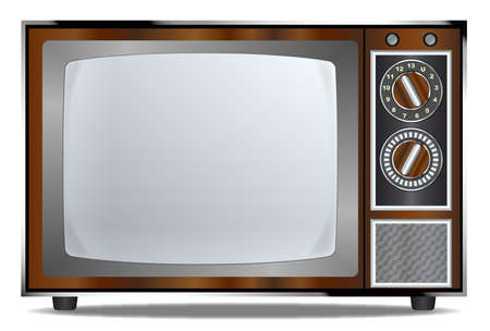 surround: An old wood surround television receiver over a white background