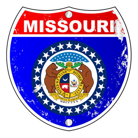 interstate: Missouri flag icons as an interstate sign over a white background