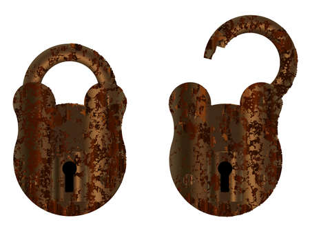 An old suted up padlock in open and close positions over a white background