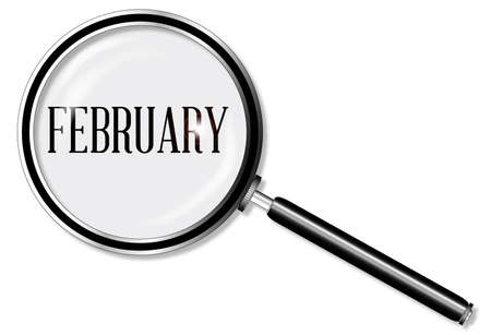 private eye: A magniying glass over February over a white background