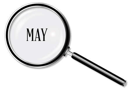 larger: A magniying glass over May over a white background Illustration