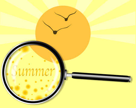 depictions: A depiction of Summer with a bright yellow and floating abstract balls below a magnifying glass