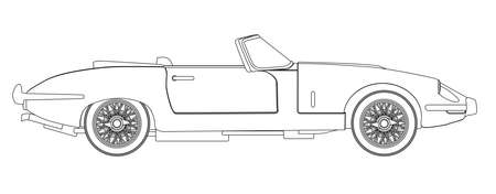 rag wheel: A typical sleak British style open top sports car in outline