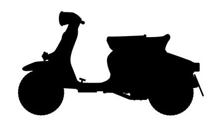 motor scooter: A typical 1960 style motor scooter in silhouette  over a white background