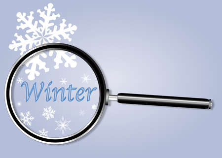 depictions: A depiction of winter in blue with snowflakes under a magnifying glass Illustration