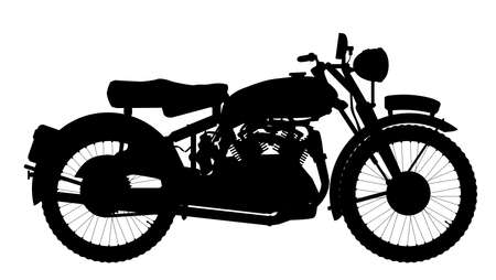 motor cycle: A classic style motor cycle silhouette over a white background