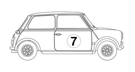 small car: A typical compact small car outline isolated on a white background