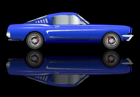 v8: An American big V8 muscle car over a black background