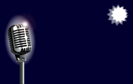 spotlit: A stage microphone set on a blue  spotlit background Illustration