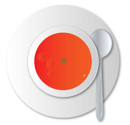 soup spoon: A round bowl of tomato soup with silver spoon over a white background