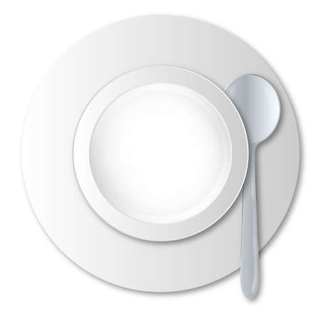 empty bowl: A round empty soup bowl and silver spoon over a white background