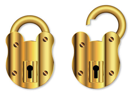 pitted: A new brass padlock in open and close positions over a white background Illustration