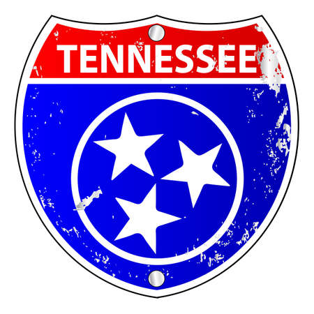 Tennessee flag icons as an interstate sign over a white background