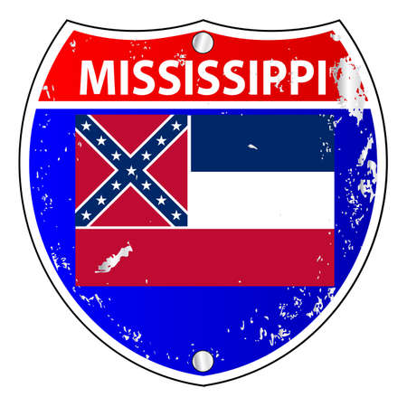 interstate: Mississippi flag icons as an interstate sign over a white background