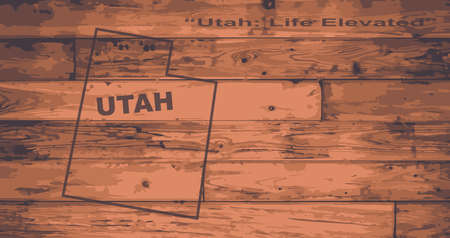motto: Utah state map brand on wooden boards with map outline and state motto