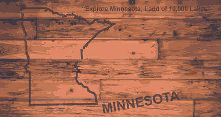 motto: Minnesota state map brand on wooden boards with map outline and state motto
