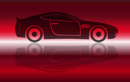 streamlined: A fast two door sports coupe over a red flash background
