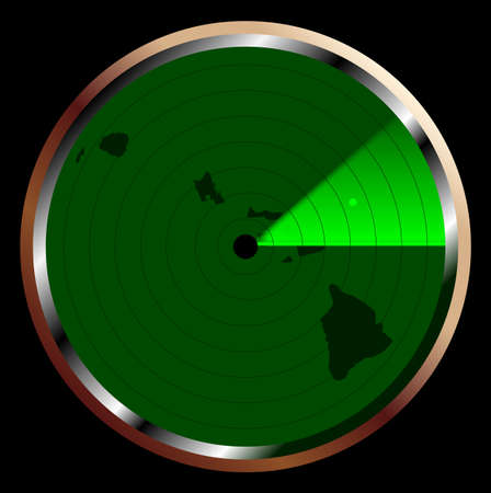 blip: The screen of a typical radar device in green sweeping over Hawaii Illustration