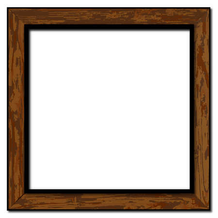 grained: A weathered and worn wood picture frame over a white background