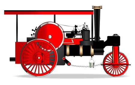 A vintage victorian ere steam roller over a white bakground Illustration