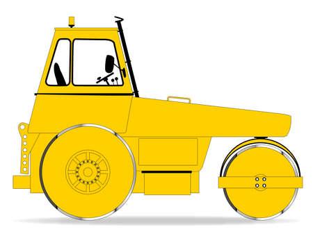 diesel engine: A modern diesel engine road roller over a white background