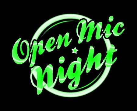 florescent light: Open mic night florescent light over a black background